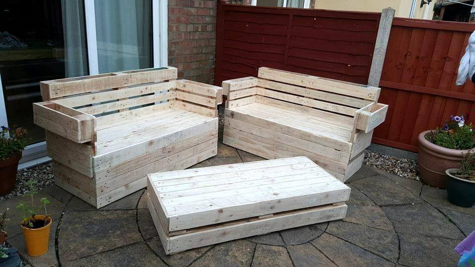 reclaimed pallet garden seating set - Garden Furniture Stain
