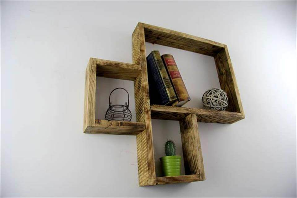 upcycled pallet 3D wall shelves