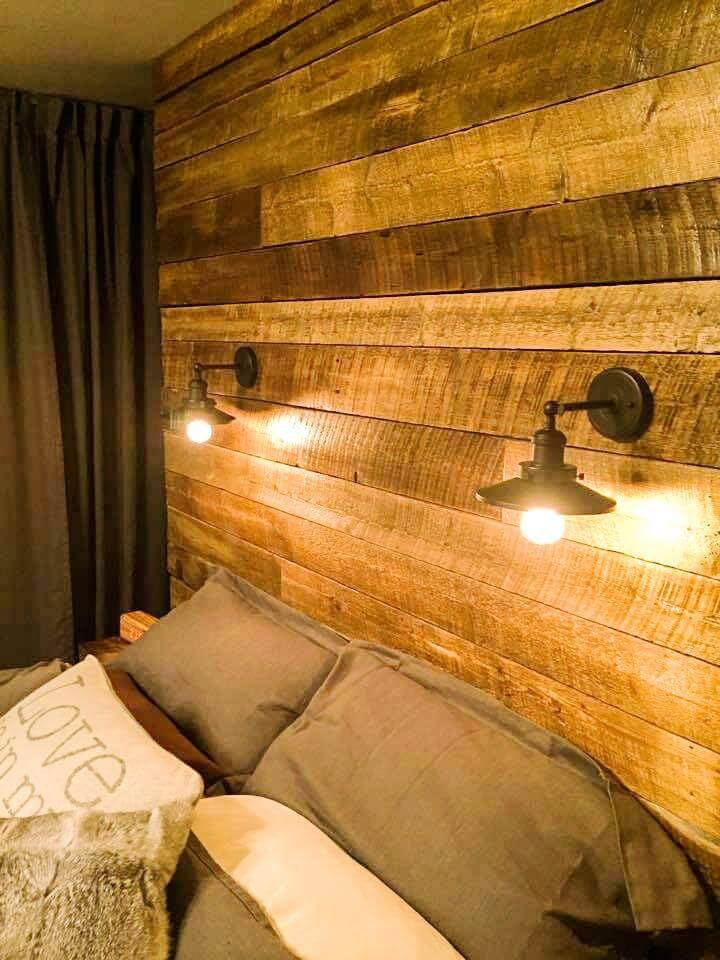 handmade pallet headboard with lights