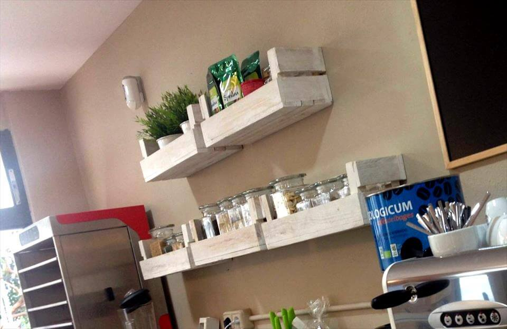 handcrafted wooden pallet kitchen shelves