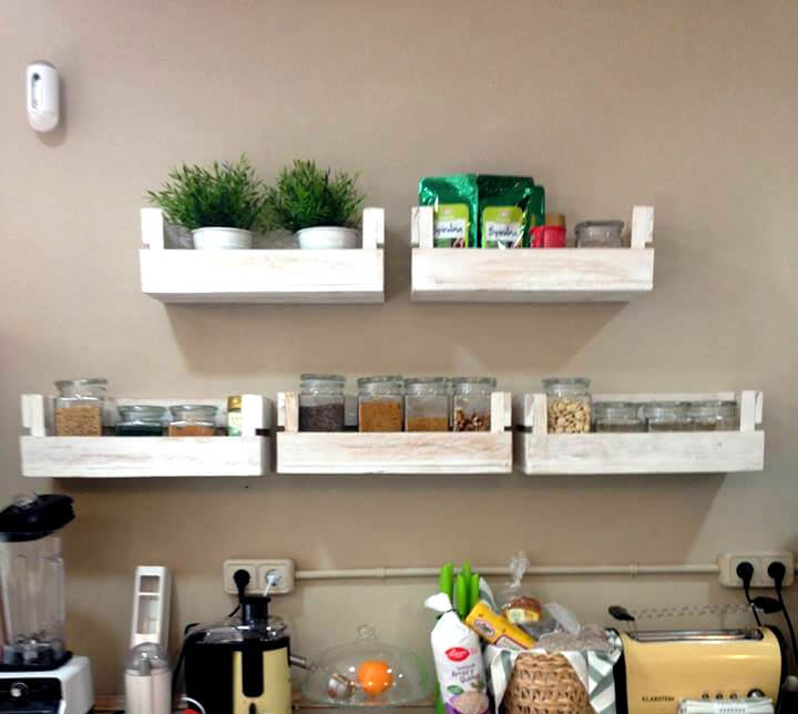 Reclaimed Pallet Shelves For Kitchen