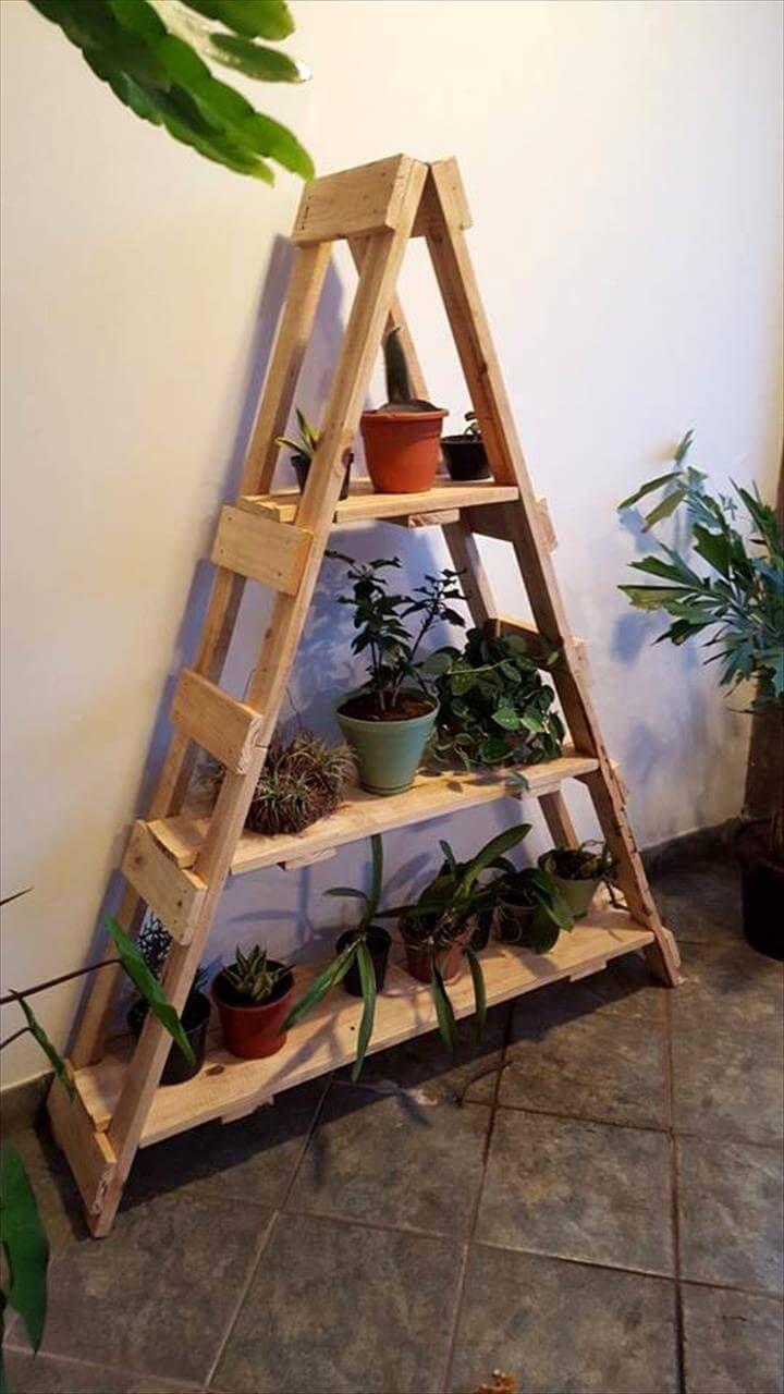 wooden pallet ladder shelf