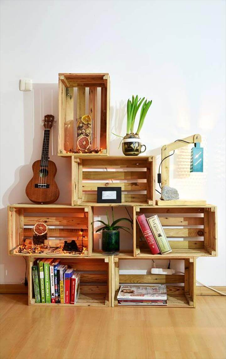 pallet crate storage and display ideas