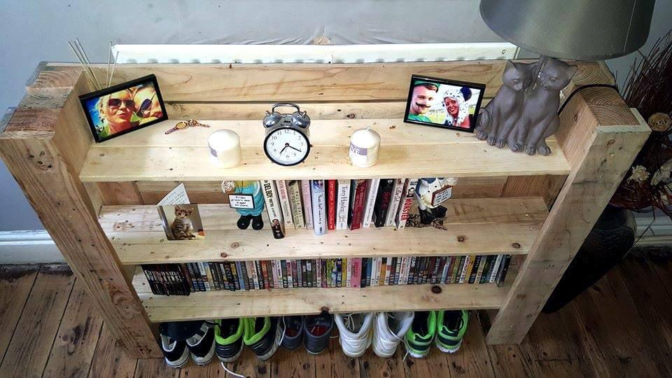Reclaimed pallet multi-functional shelf unit