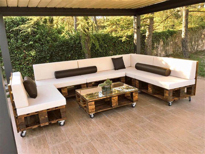 handmade modern pallet poolside sofa set