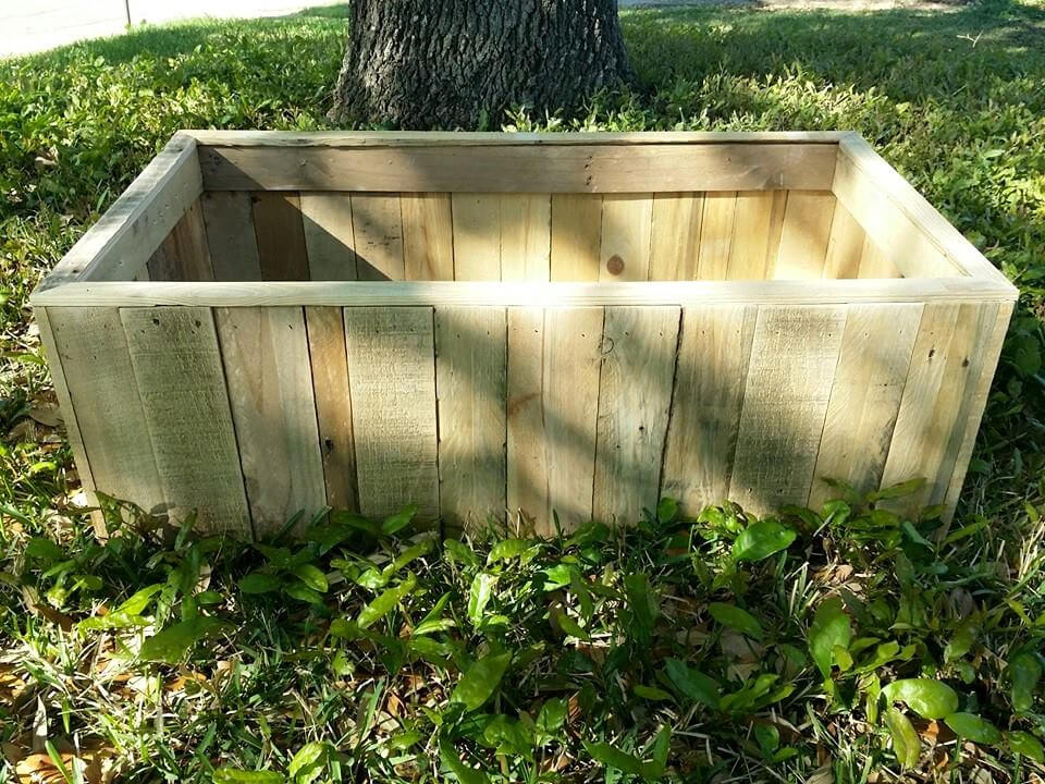 no-cost pallet planter box or raised garden bed