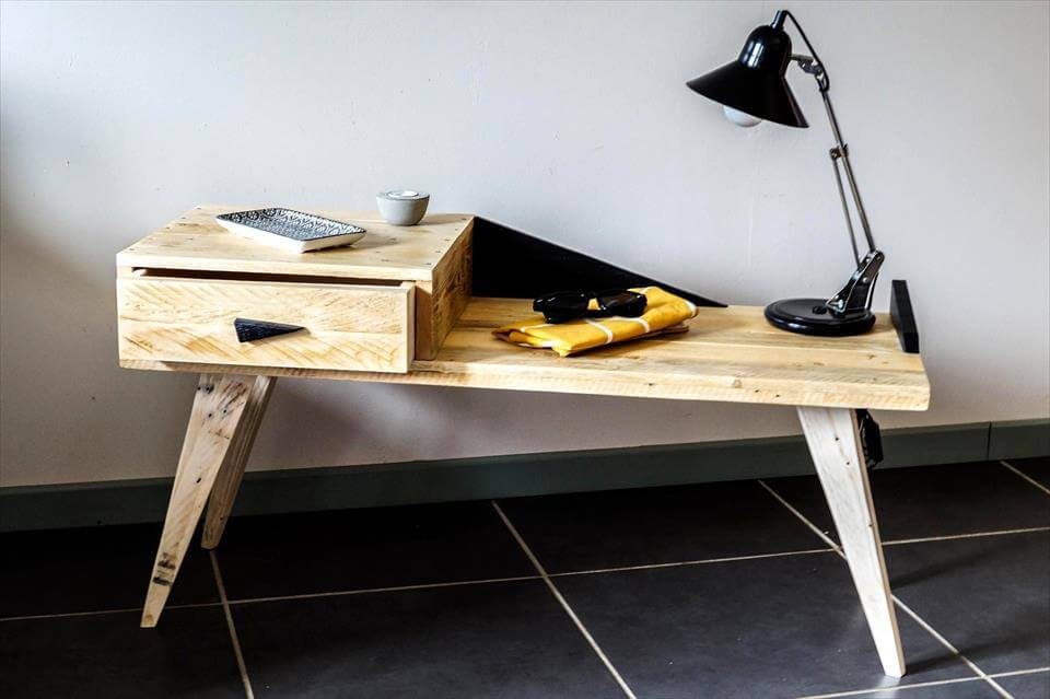 creative pallet side table with drawer