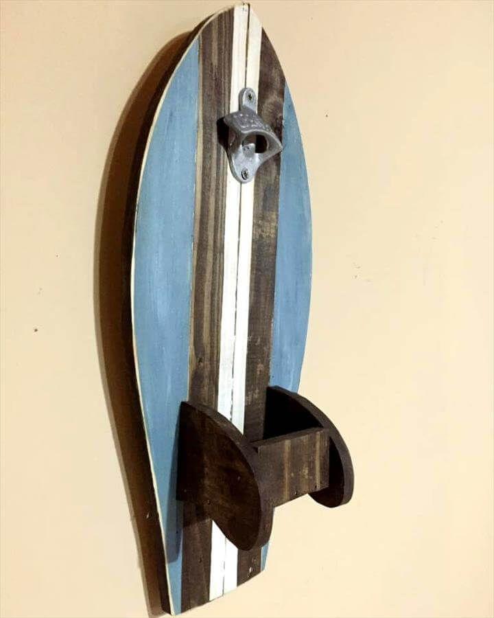 diy pallet surfboard bottle opener