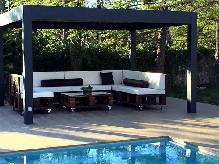 diy pallet terrace and pooslide sofa set