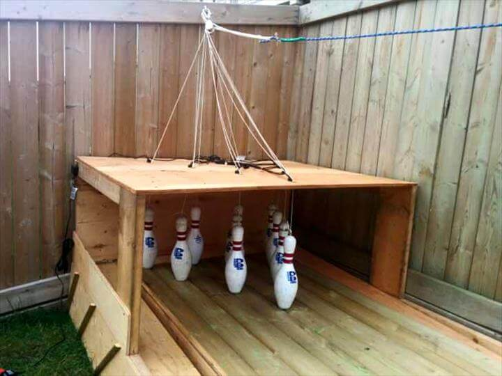 no-cost pallet self-made bowling alley
