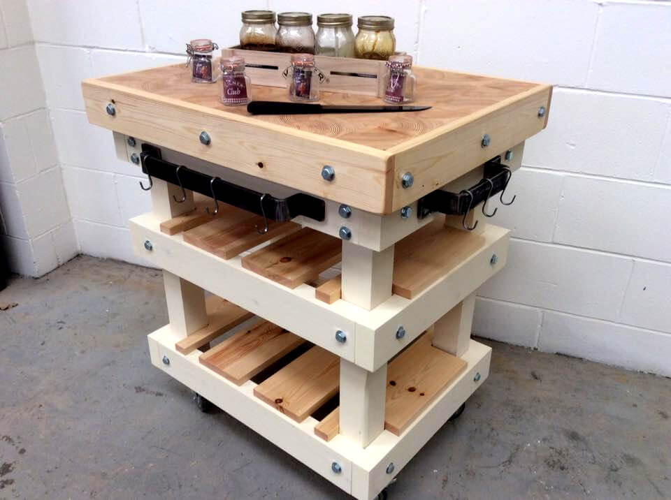 DIY pallet butcher block style kitchen island