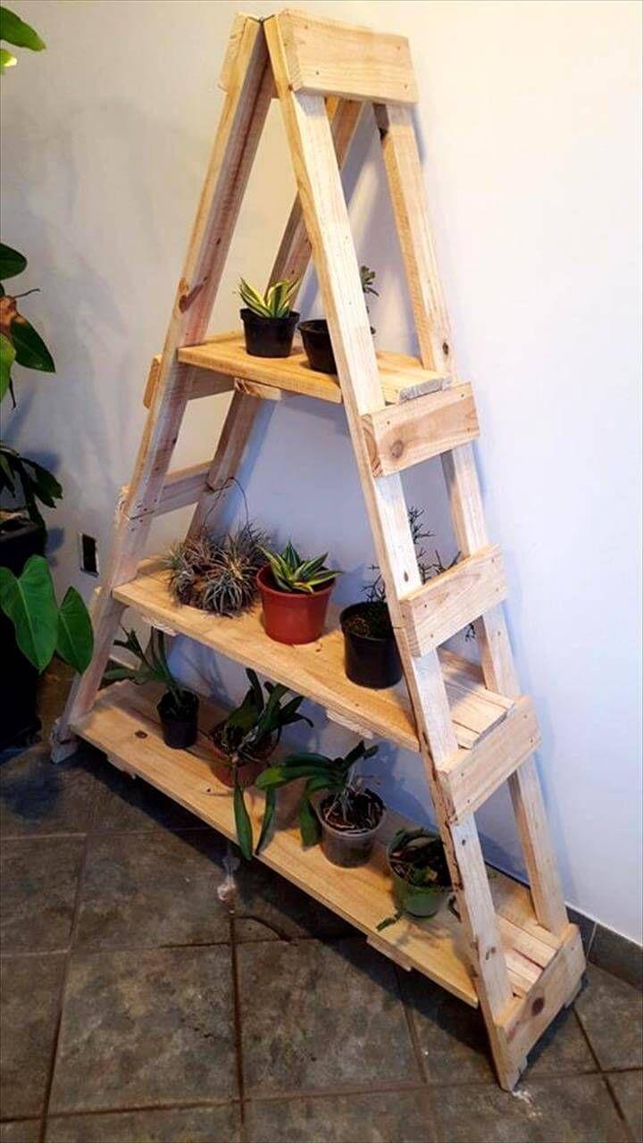Reclaimed pallet ladder shelf