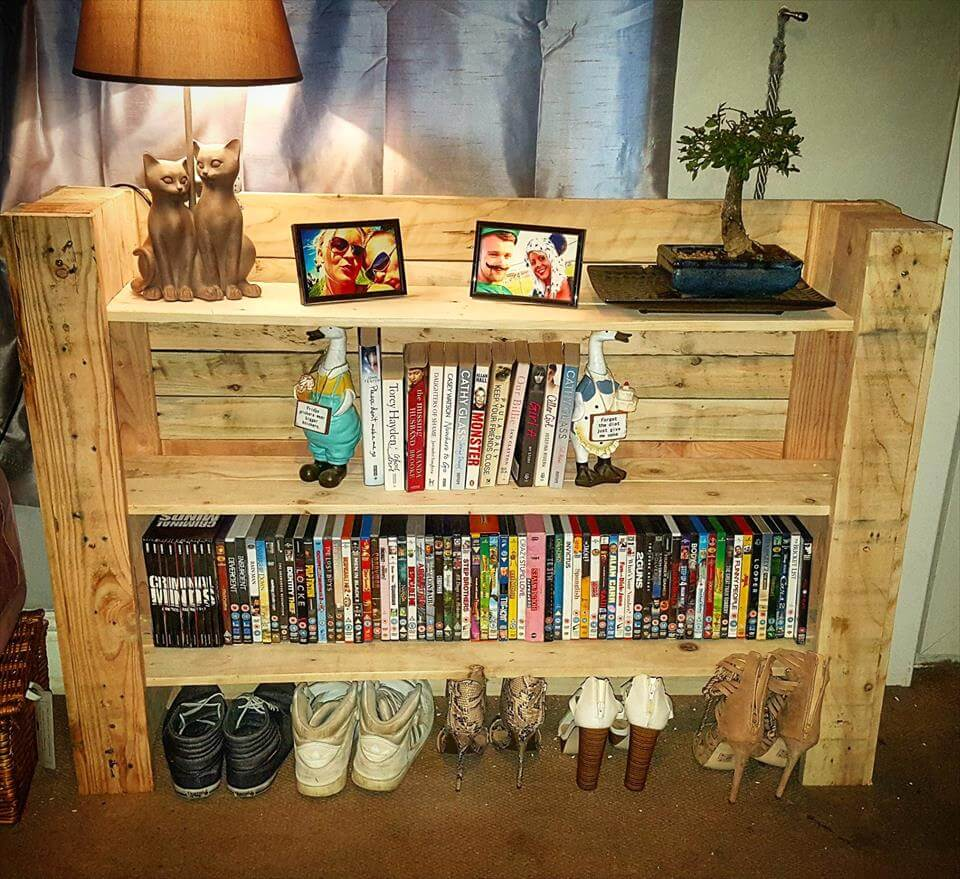 Repurposed pallet multi-functional shelf unit