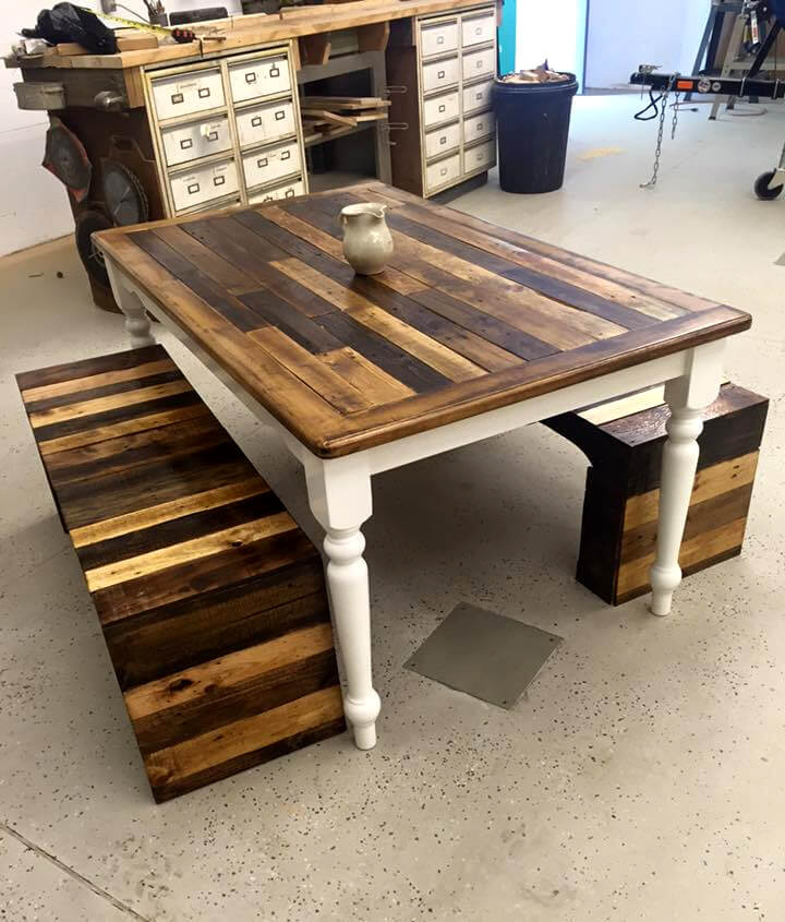 Dining room table made out of pallets