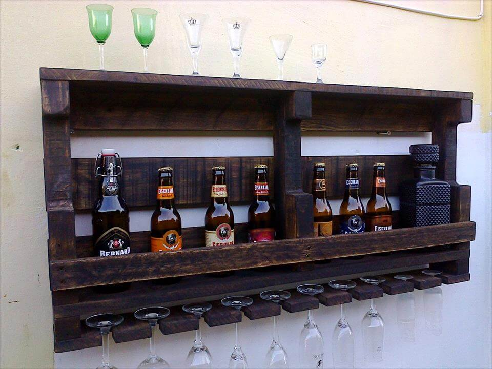 dark stained pallet beverage bottle rack