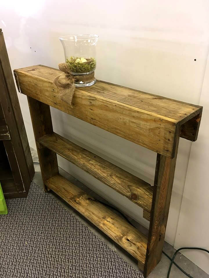 Wooden pallet entryway table Wooden hallway furniture