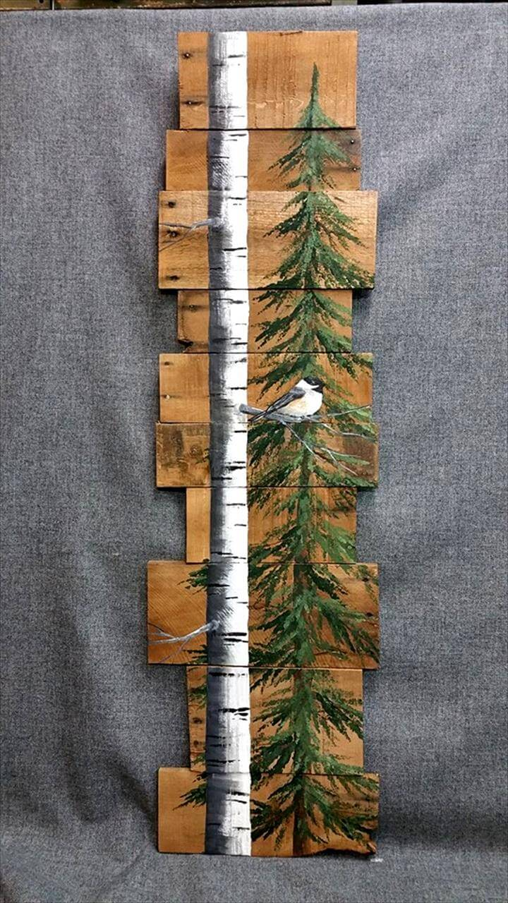 wooden pallet wall bird and tree art