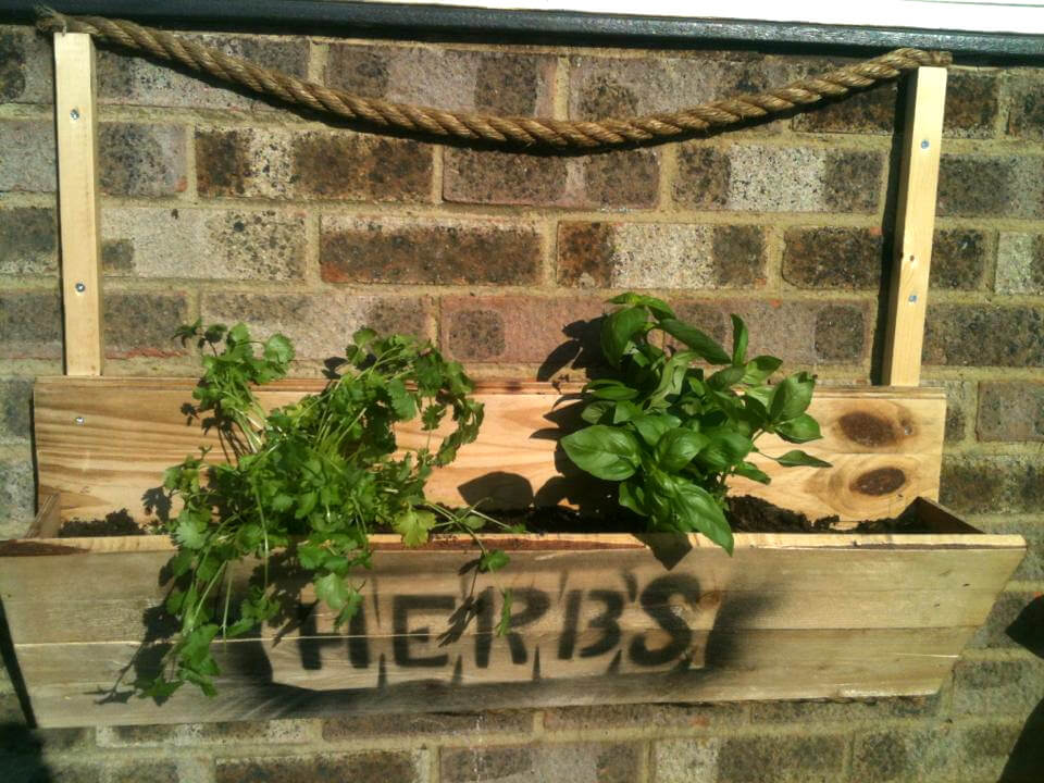custom wooden pallet and nautrical rope wall hanging herb planter