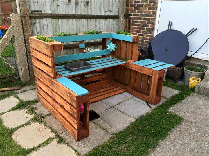 mud kitchen planters made of pallets