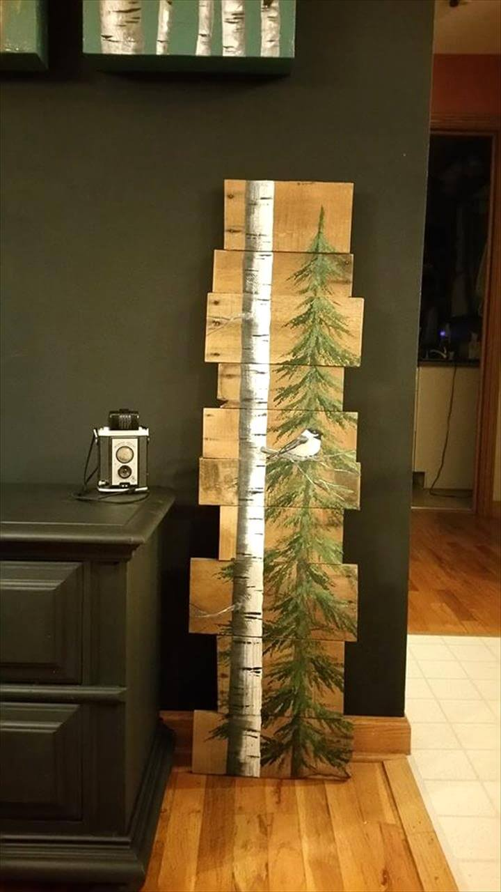 handcrafted wooden pallet tree and bird wall art