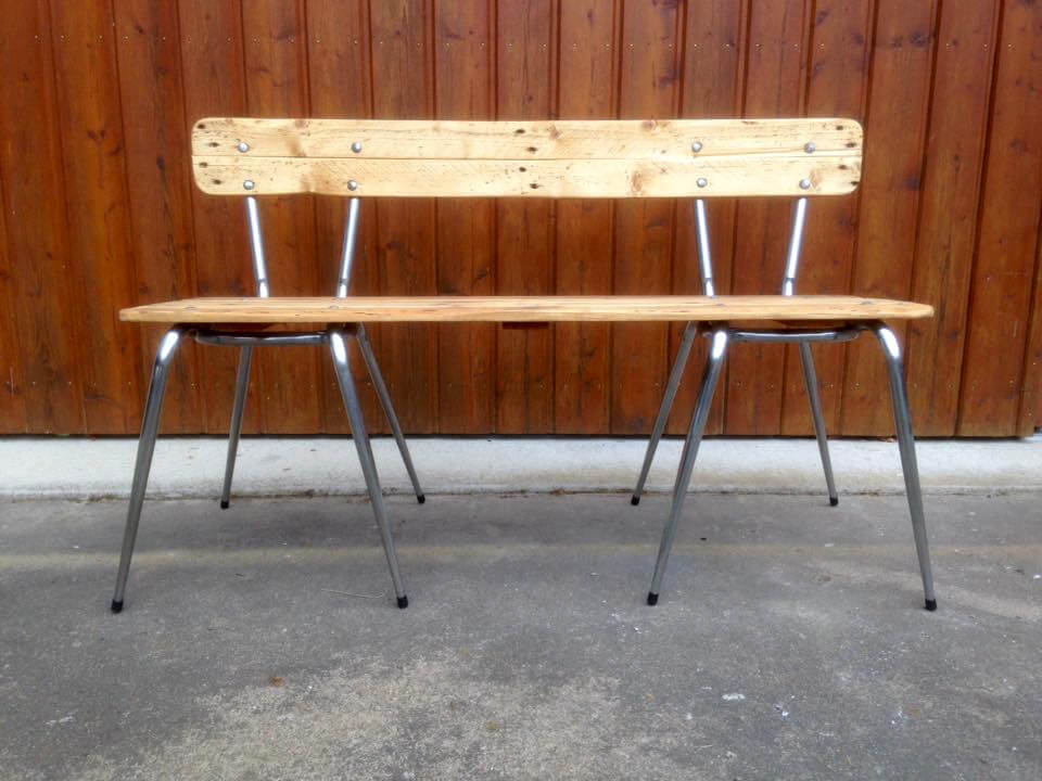 Old Metal Chair And Pallet Wood Bench
