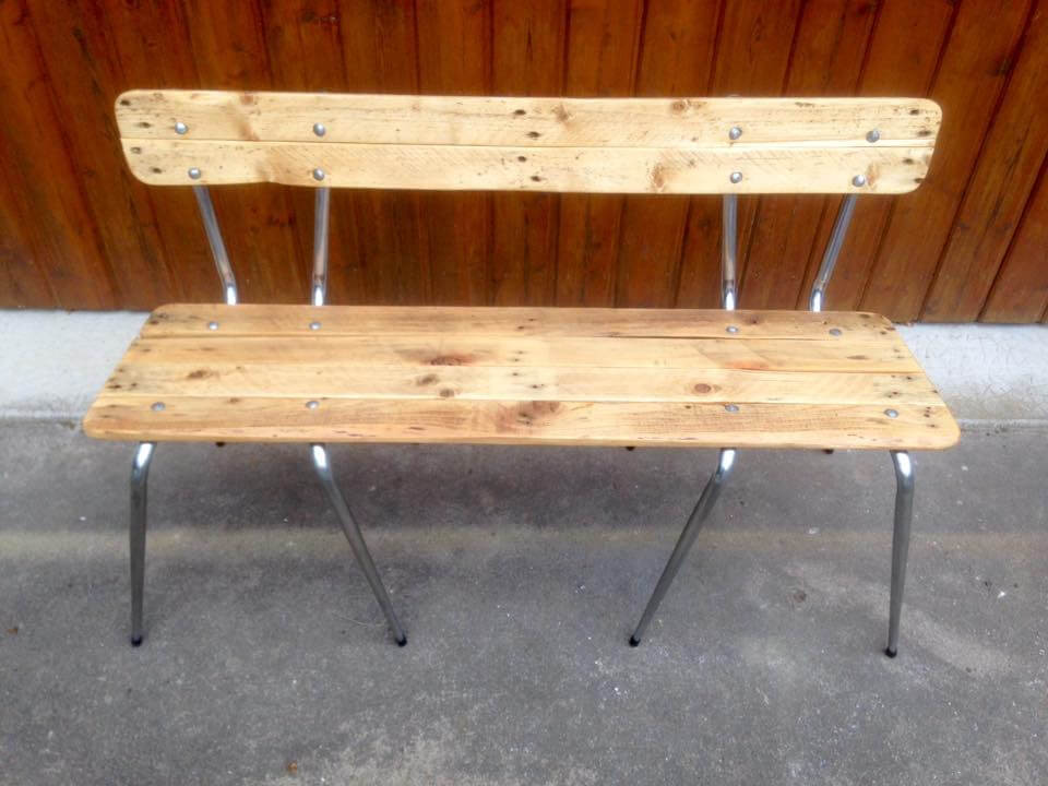 pallet and old metal chair bench