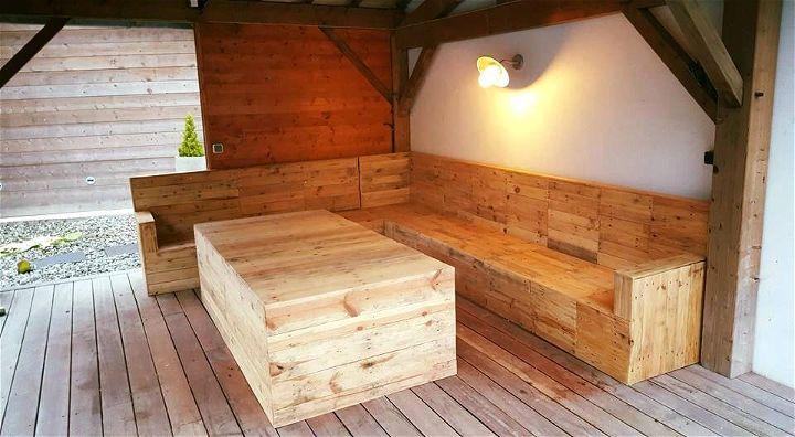 handmade wooden pallet sectional sofa set