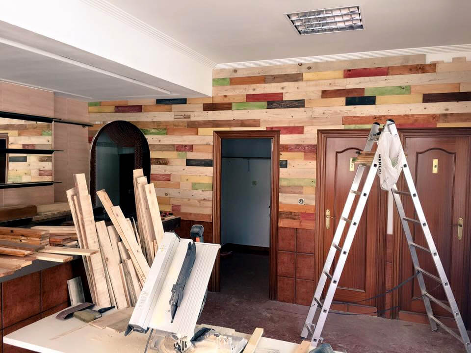 handcrafted wooden pallet interior remodeling