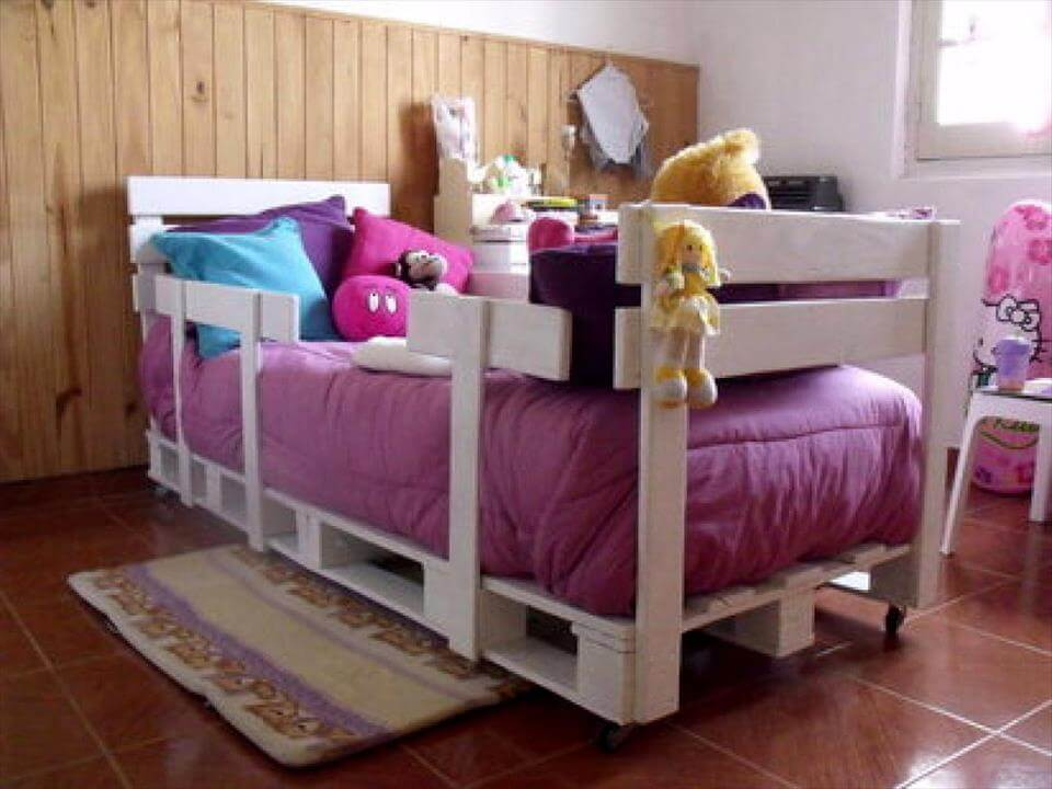 no-cost white pallet kids bed
