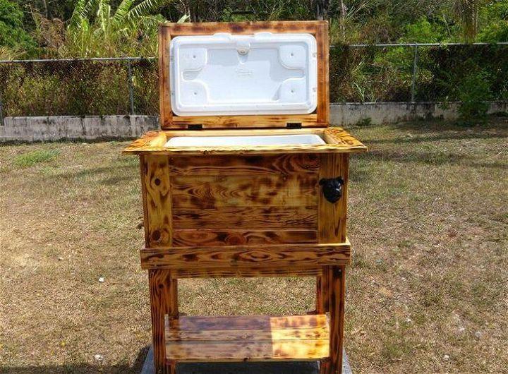 repurposed wooden pallet outdoor cooler