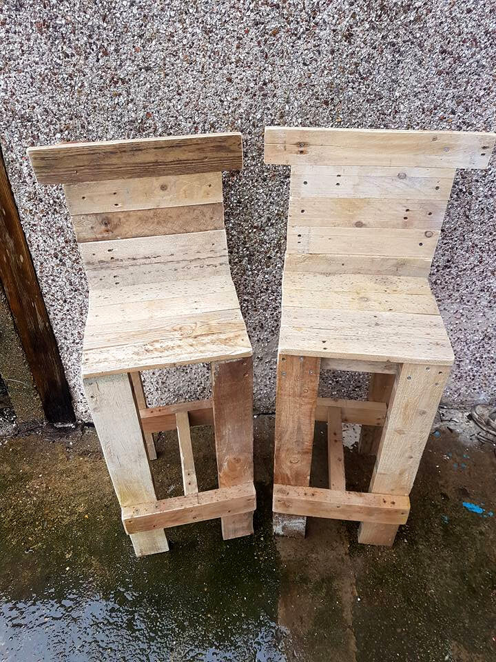 Pallet bar table chairs 99 pallets - Fabriquer un tabouret de bar ...