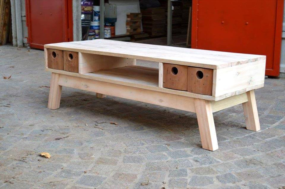 handmade wooden pallet retro styled TV stand