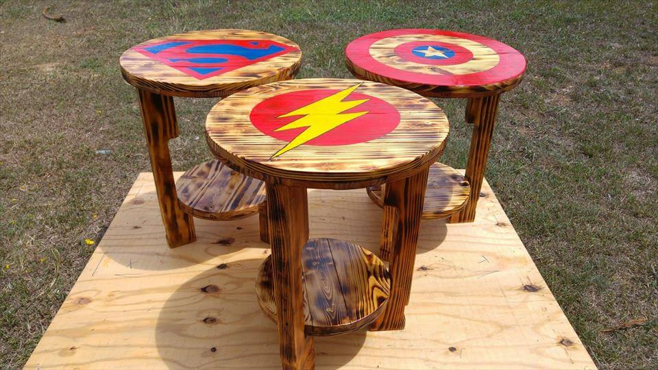 pallet round side or end table with superhero logos
