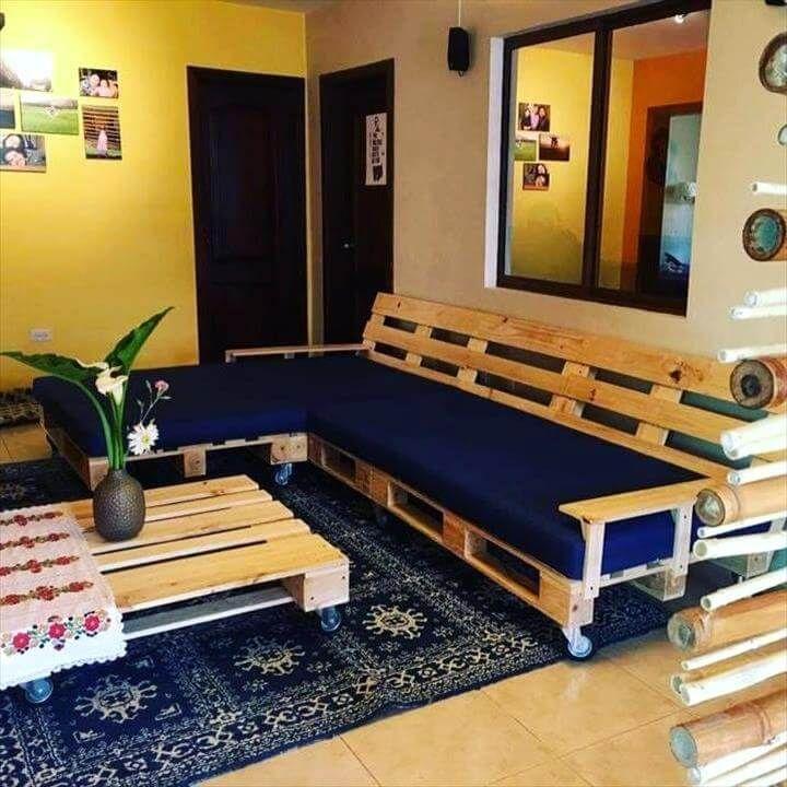 Wooden pallet sofa bed