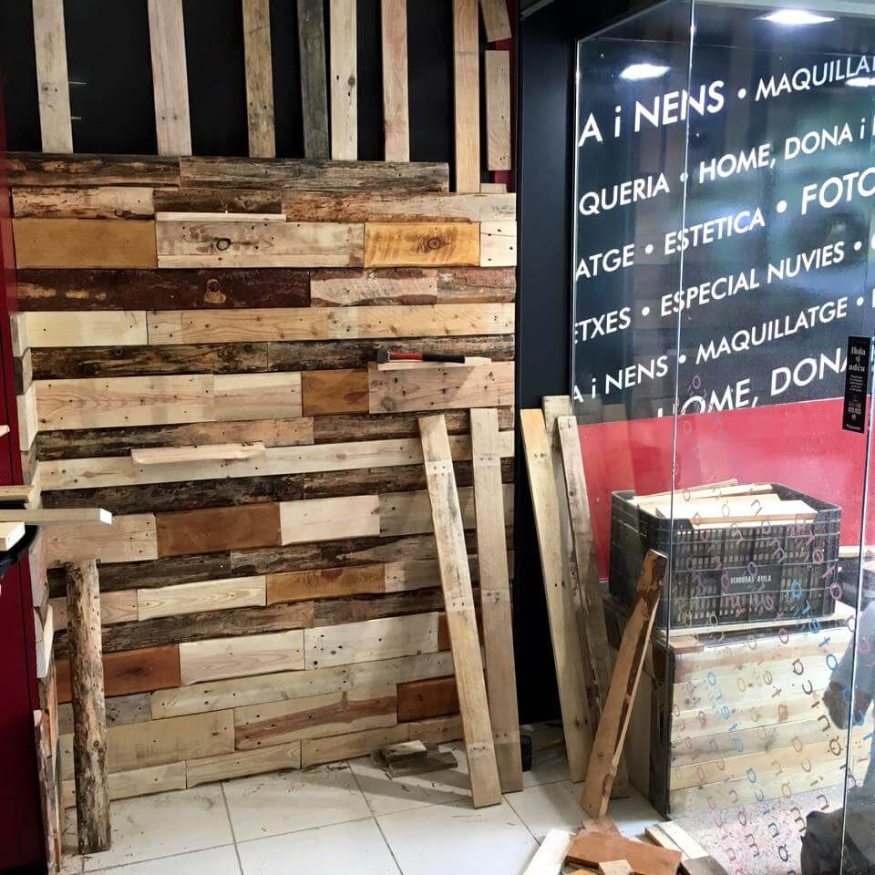 Recycled pallet wall paneling