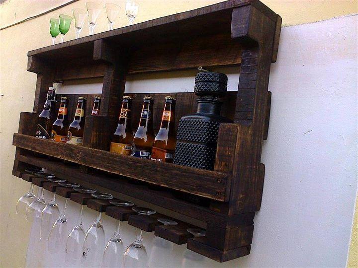 Diy Pallet Beverage Bottle Rack Glasses
