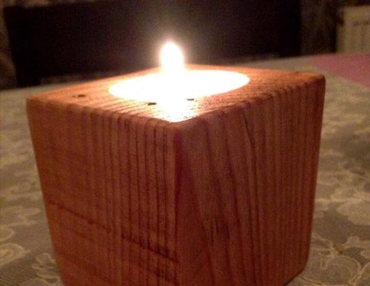 upcycled pallet dice into a votive