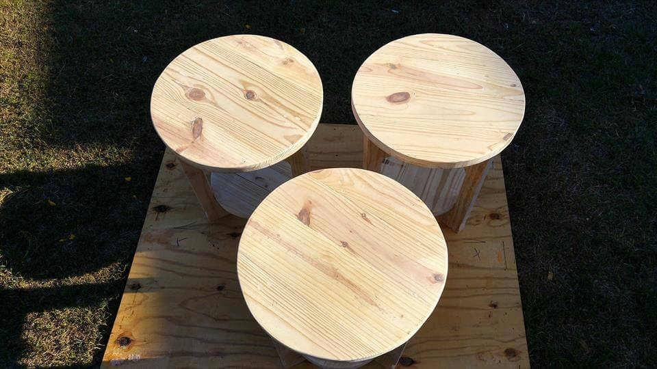 rustic round pallet end tables with bottom shelf