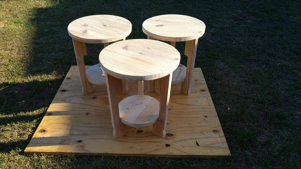 handmade wooden pallet end tables or side tables