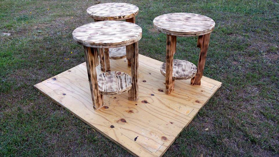 handcrafted wooden pallet round end or side tables