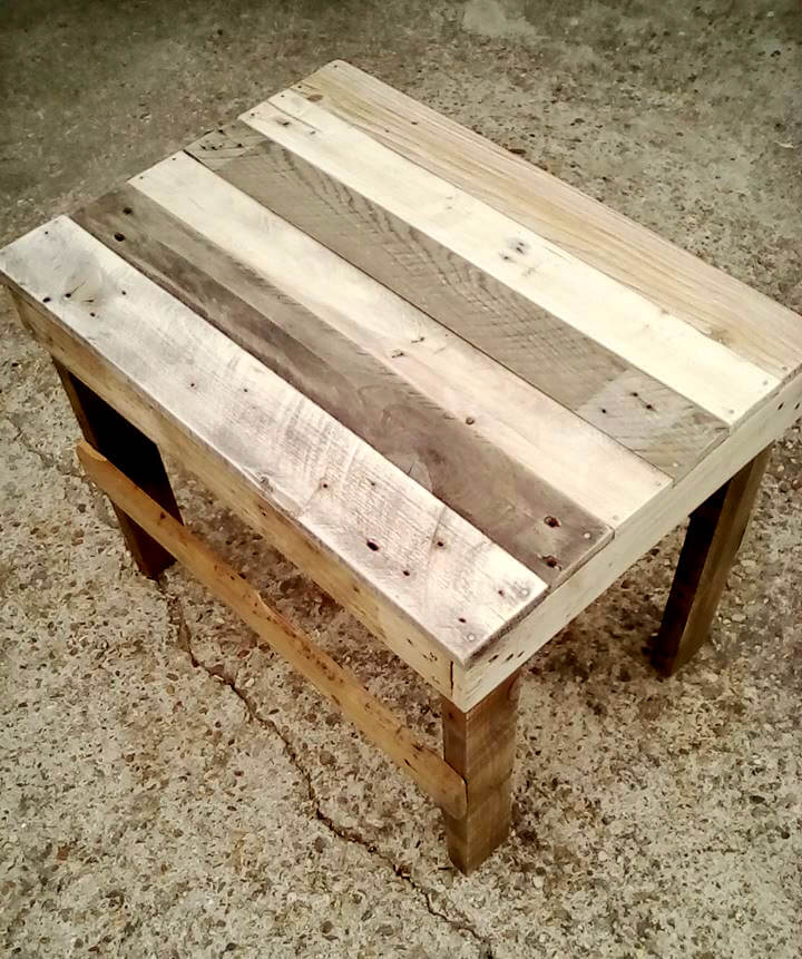 handcrafted wooden pallet shabby chic end table