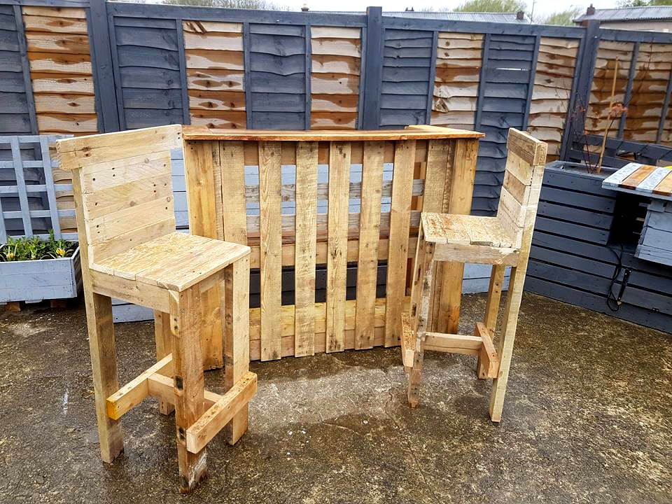 handmade pallet bar table and chair set