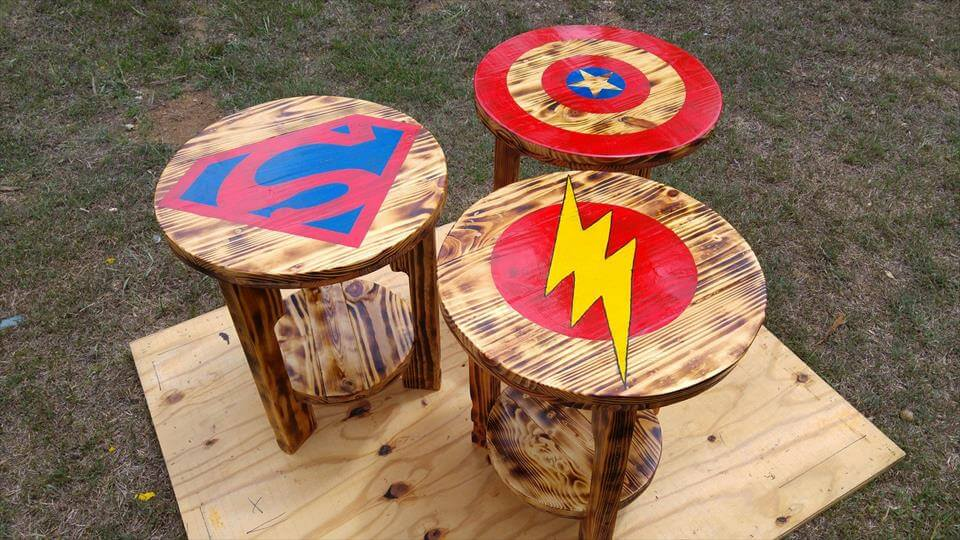mini round pallet side or end tables with superhero logo