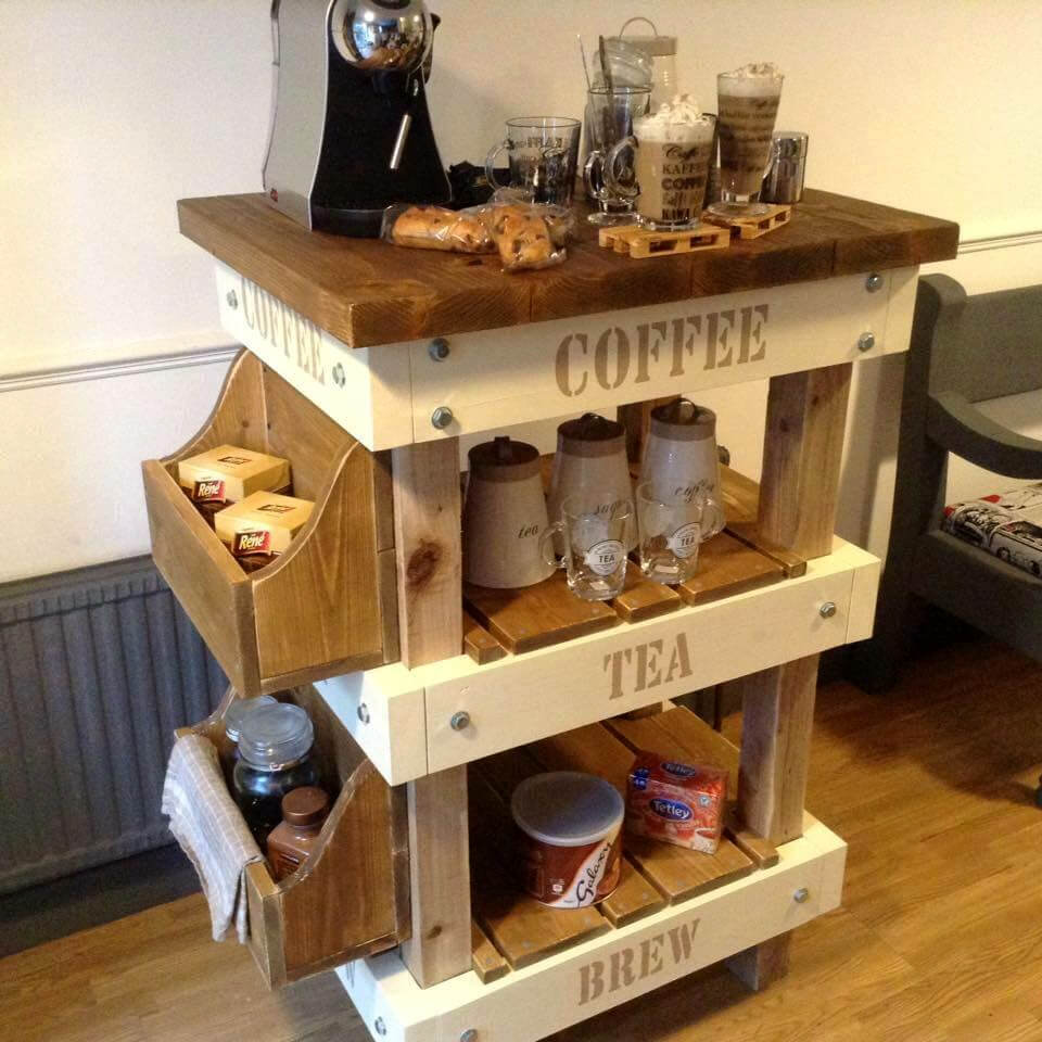 Pallet And Reclaimed Wood Tea amp Coffee Station