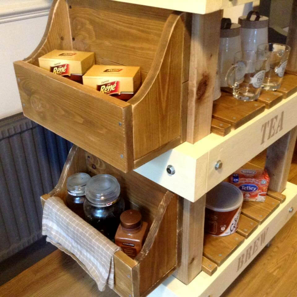 This custom coffee station is having 3 built in levels that organize
