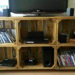 Pallet Media Cabinet + Storage Boxes
