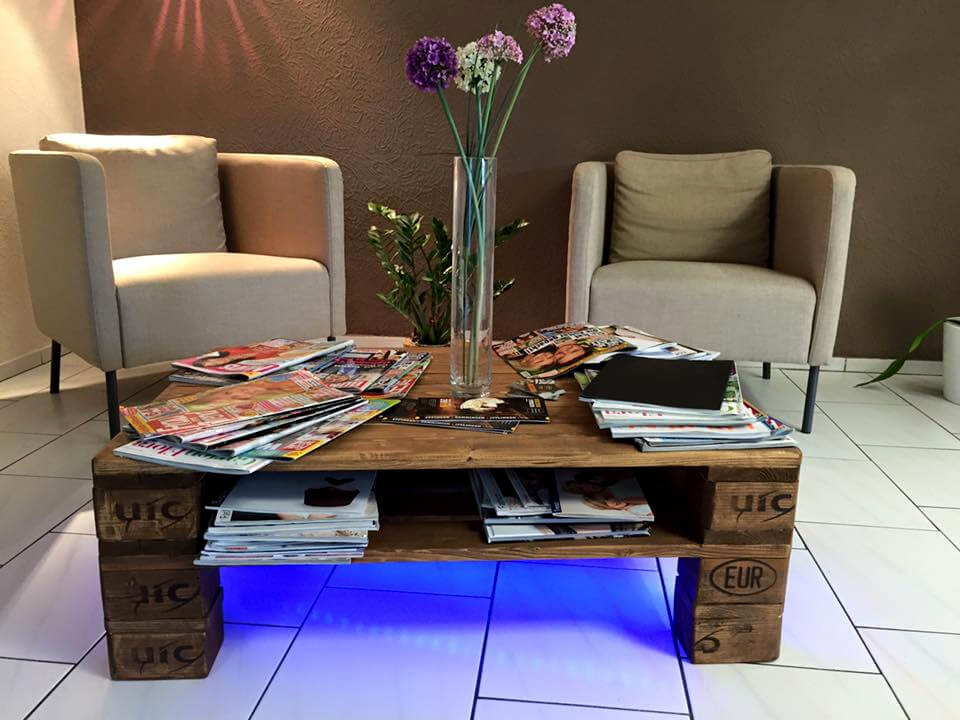 handmade rustic pallet coffee table with lights