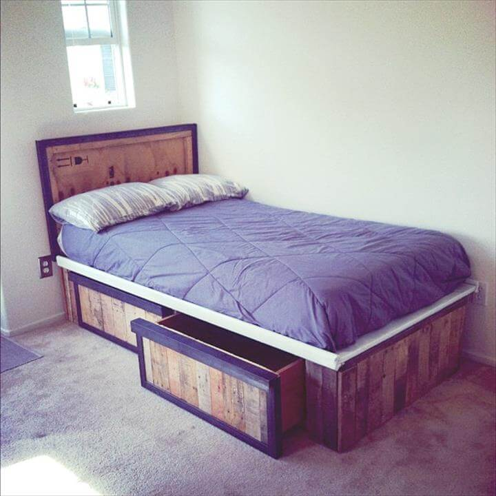 wooden pallet bed with base storage