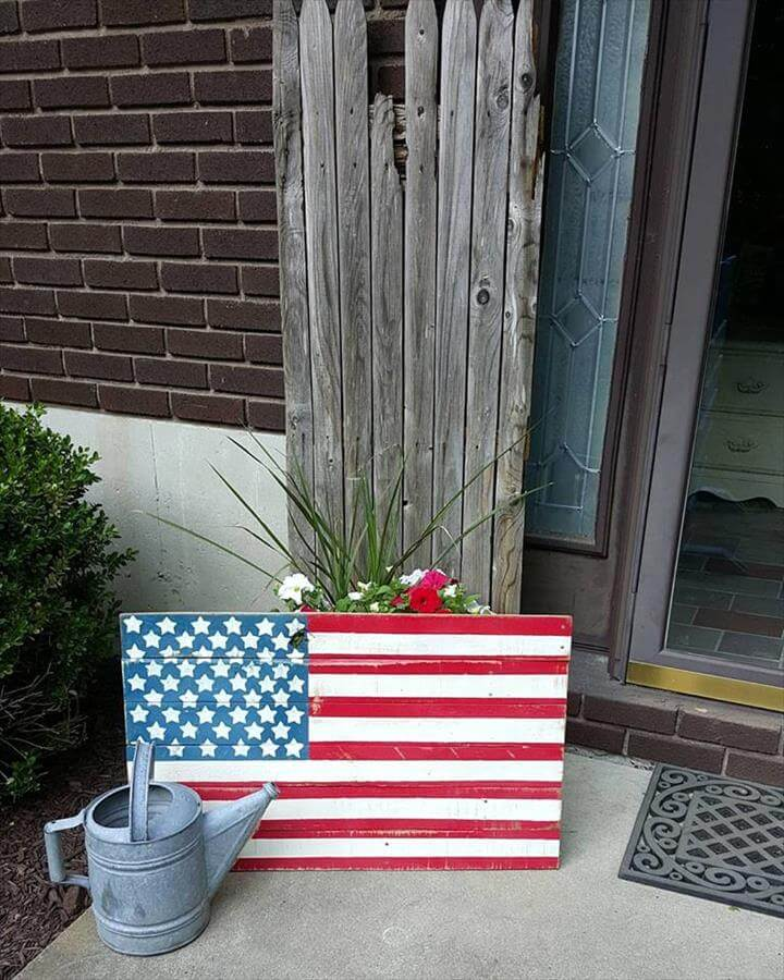 Pallet made flag art piece