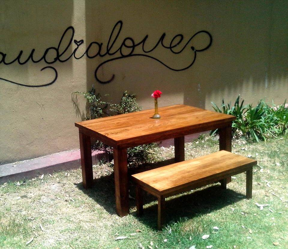 upcycled pallet outdoor dining set